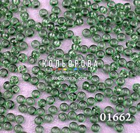 Бисер чешский 01662 травяной зеленый прозрачный блестящий Preciosa 1 сорт