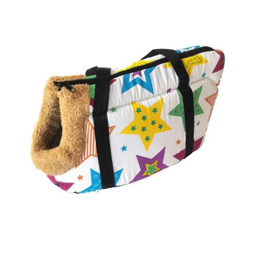 Сумка-переноска для собак с меховой отделкой Звездочки, Цвет Белый