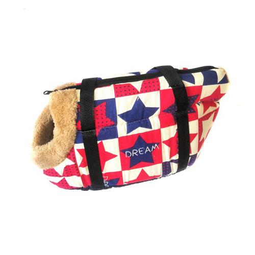 Сумка-переноска для собак с меховой отделкой Звездочки, Цвет Красно-синий
