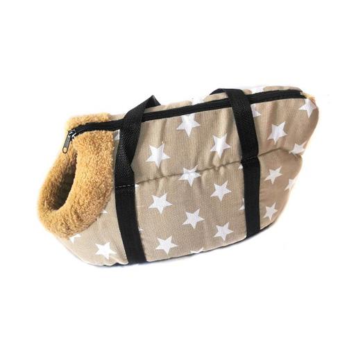 Сумка-переноска для собак с меховой отделкой Звездочки, Цвет Коричневый