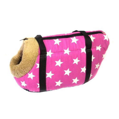 Сумка-переноска для собак с меховой отделкой Звездочки, Цвет Ярко-розовый