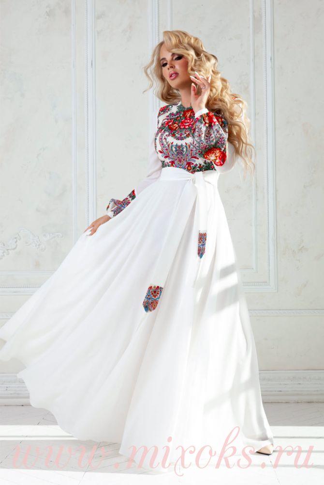 Платье белое в пол из креп-шифона