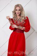 красное русско-народное платье