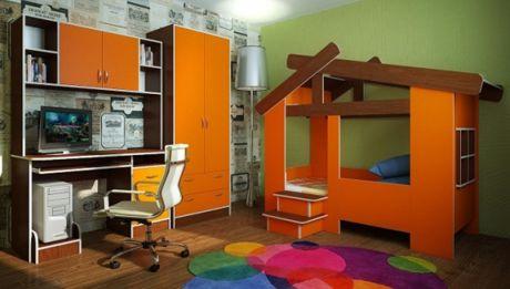 Мебель Домик 13/64СВ + стол с надстройкой 13/14СВ + шкаф 13/3СВ. Орех/Оранжевый