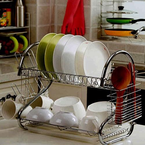 Двухъярусная сушилка для посуды с поддоном 2-LAYER DISH DRAINER