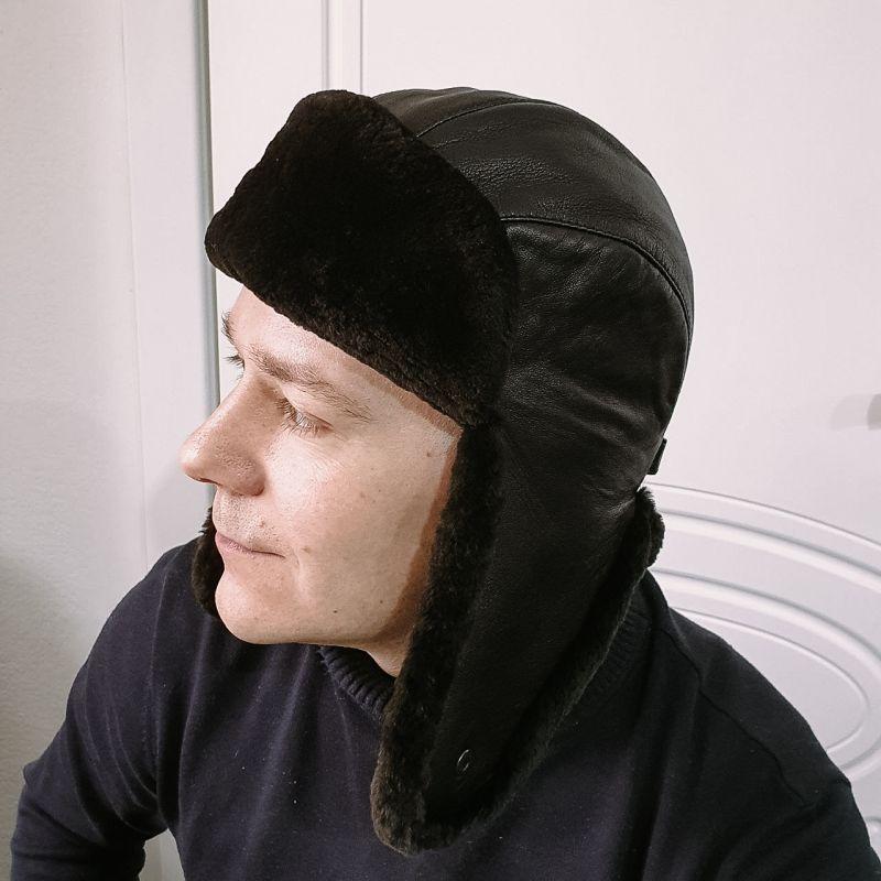 Мужская шапка-ушанка черная