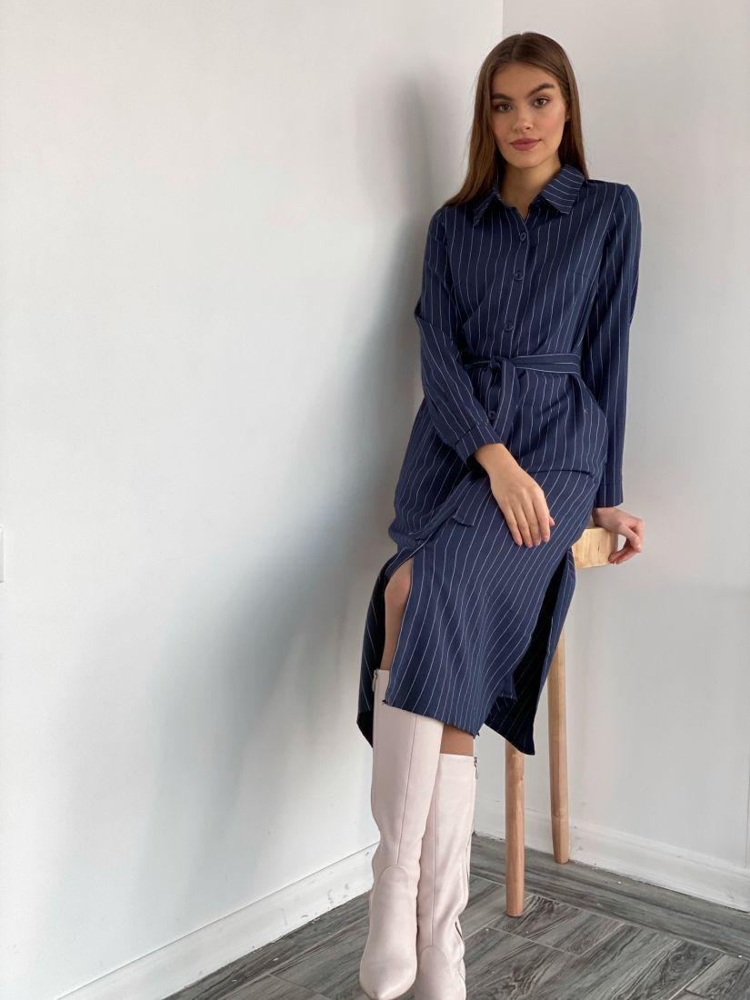 s2163 Платье-рубашка в полоску тёмно-синее