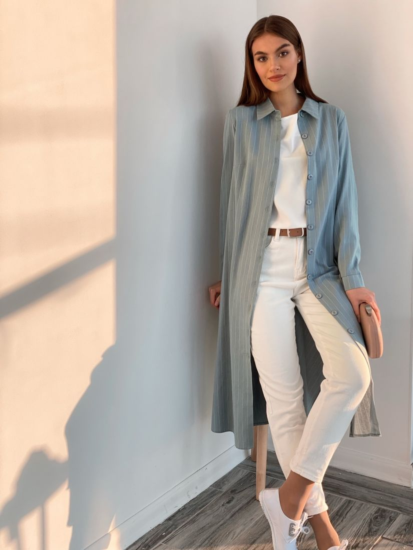 s2122 Платье-рубашка из мягкого хлопка в полоску голубое