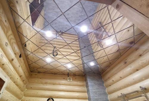 Зеркальный потолок серебро 30х30 см. без фацета