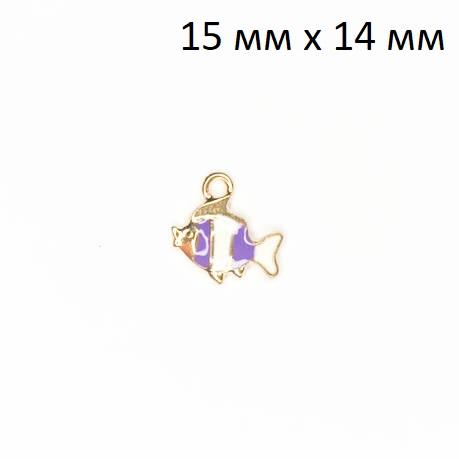 фото Подвеска (кулон/ шарм) Рыбка из металла с эмалью
