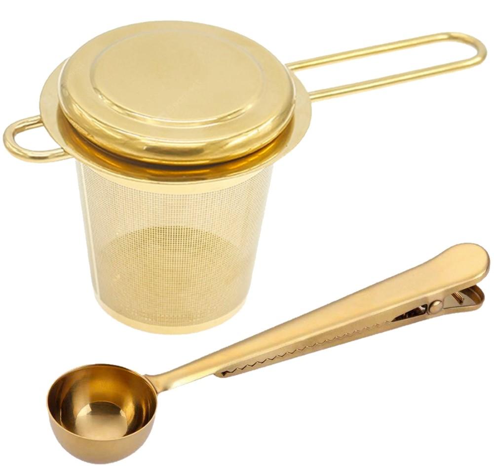 Набор чайных принадлежностей, 2 шт., золотистый