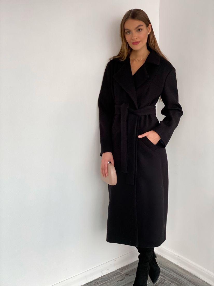 s3668 Удлиненное классическое пальто в чёрном цвете