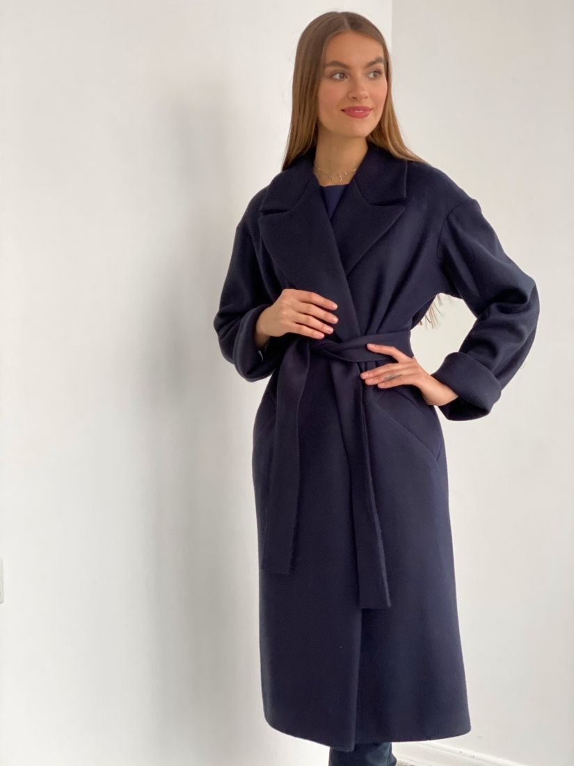 s3672 Пальто Дива в в тёмно-синем цвете
