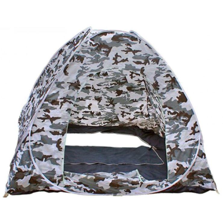 Палатка зимняя автомат дно на молнии белый КМФ 2,0 м× 2,0 м× 1,3 м (лягушка)