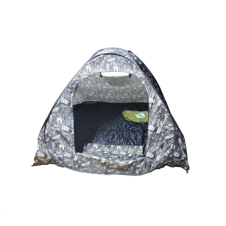 Палатка зимняя автомат утепленная дно на молнии белый КМФ 2,0 м× 2,0 м× 1,35 м (лягушка)