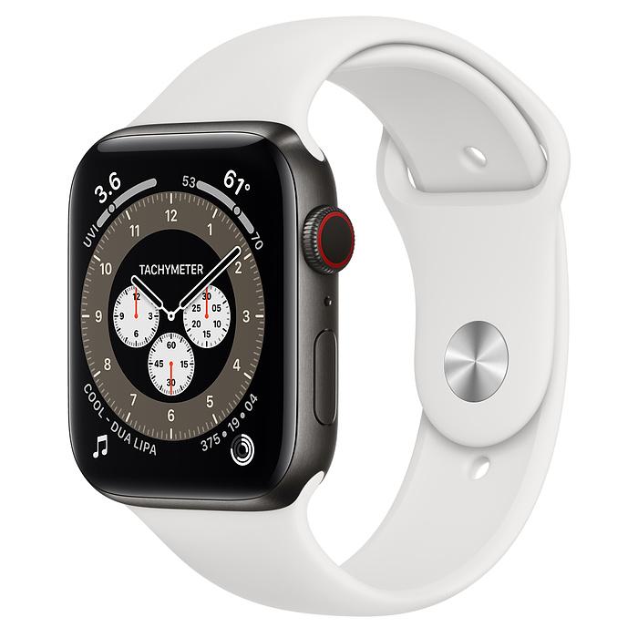 Часы Apple Watch Edition Series 6 GPS + Cellular 44mm Space Black Titanium Case with White Sport Band
