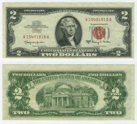2 доллара США 1963 года. Брак печать смещение ОРИГИНАЛ 100 %
