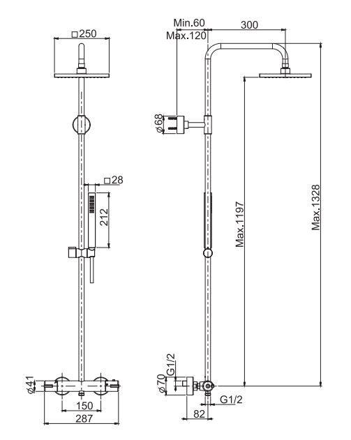 Душевая система Fima - carlo frattini Wellness F4905/QP255 с тропическим душем ФОТО