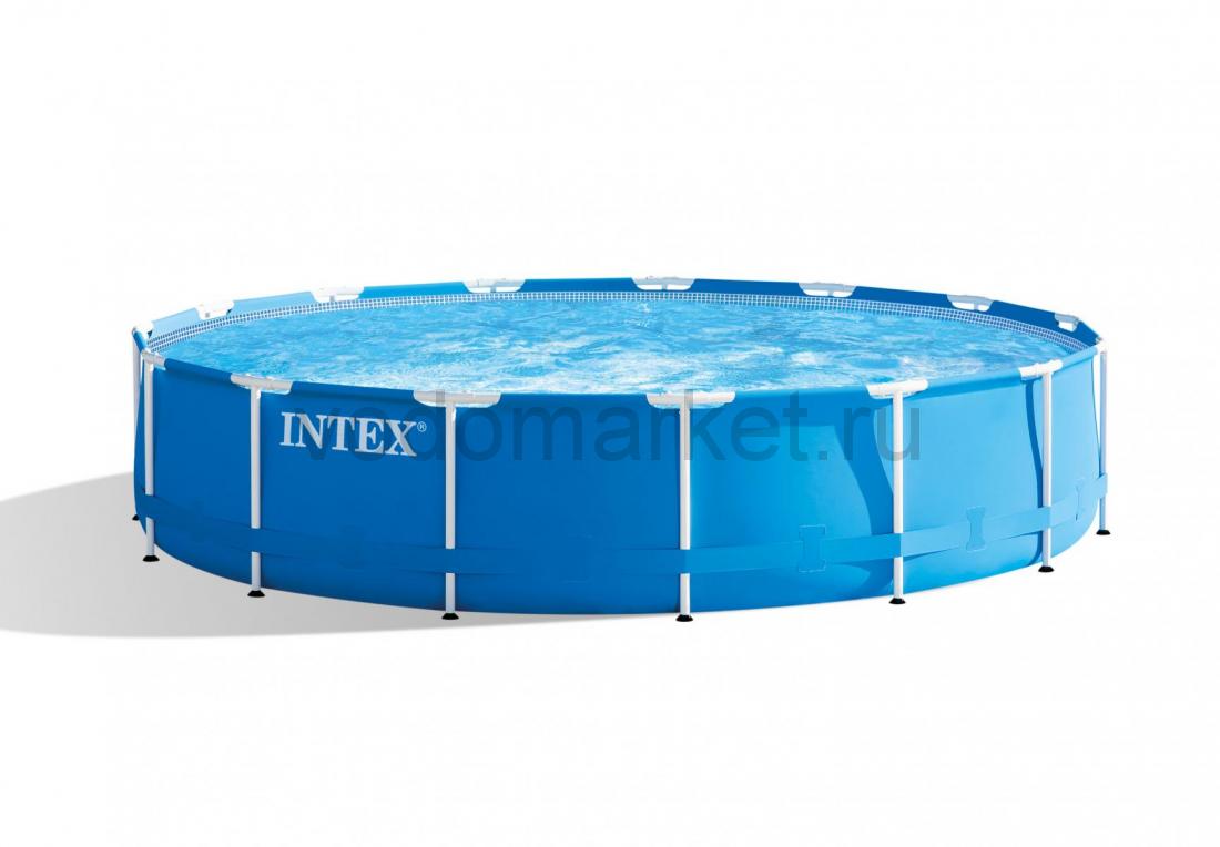 Каркасный бассейн круглый (457х122см)+ насос-фильтр, лестница, тент, подстилка 28242