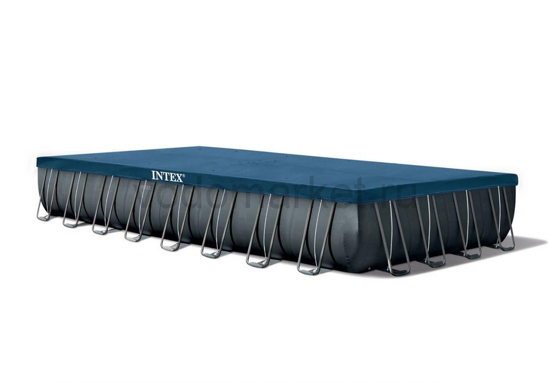 Каркасный бассейн прямоугольный (975х488x132см)+ песочный насос-фильтр, лестница, подстилка, тент 1шт/упак 26374