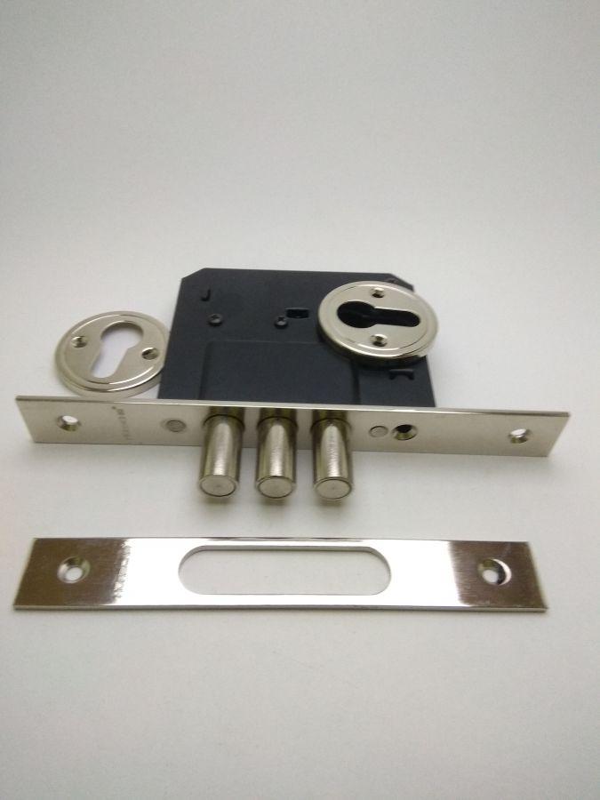 Корпус врезного замка Horsche Н014 NР, хром, с защитой от распиливания, аналог Апекс 9160.