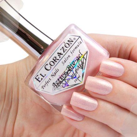 El Corazon Серия Активный Биогель Shimmer, № 423/002 светло-розовый с крупным золотым шиммером 16 мл
