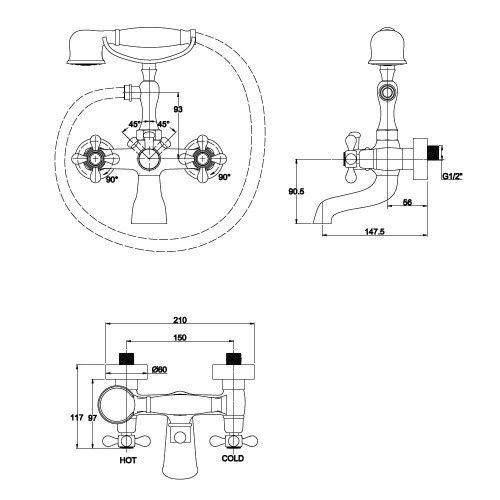 Kaiser Carlson Style 44223-2 Смеситель для ванны