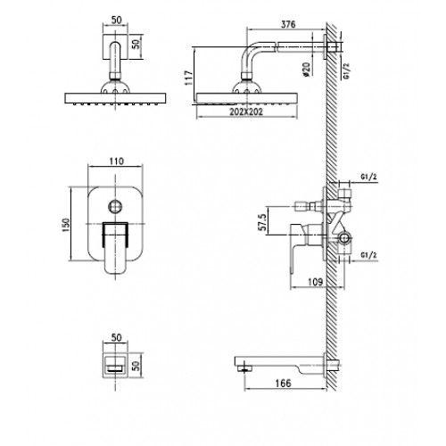 Душевая система скрытого монтажа Kaiser Sonat 34322