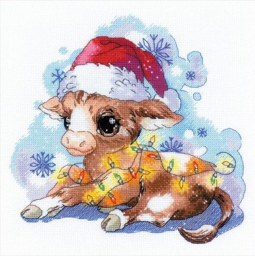 Набор для вышивания крестом Новогодний бычок №1898 фирма Риолис