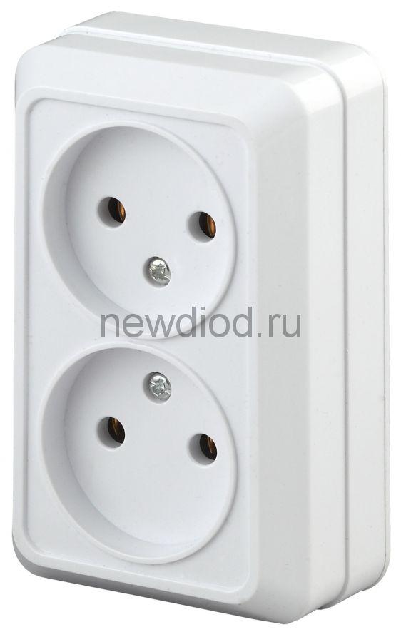 2-203-01 Intro Розетка 2х2P, 16А-250В, IP20, ОУ, Quadro, белый (10/100/3200)