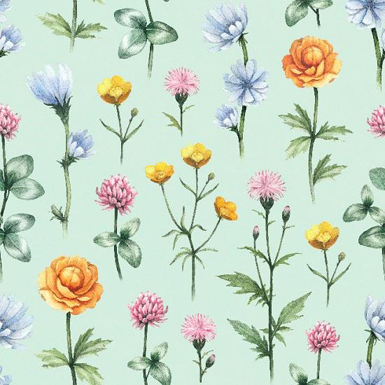 Хлопок Перкаль - Полевые цветы 50х37 УЦЕНКА