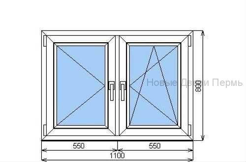 Окно ПВХ 1100*800 мм  двустворчатое готовые окна