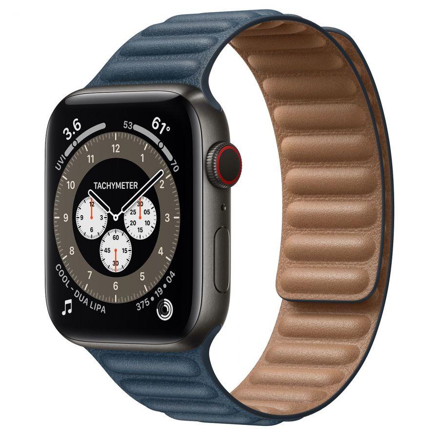 Ремешок Apple Watch Series 6 Baltic Blue Leather Link (для корпуса 44 мм)