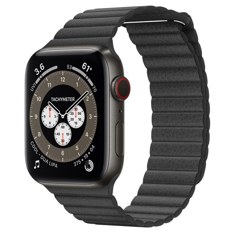 Ремешок Apple Watch Series 6 Black Leather Loop (для корпуса 44 мм)