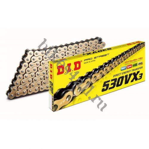 Цепь DID 530 VX3 G&B X-Ring золотая