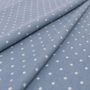 Лоскут трикотажной ткани - Баритон горох голубой 50х37 см