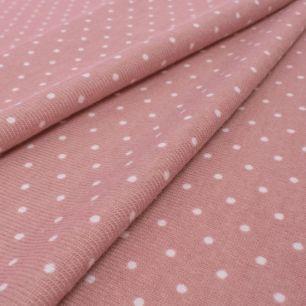 Лоскут трикотажной ткани - Баритон горох пудрово-розовый 50х37 см