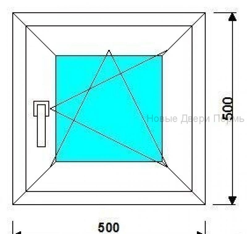 Окно ПВХ 500*500мм готовые окна
