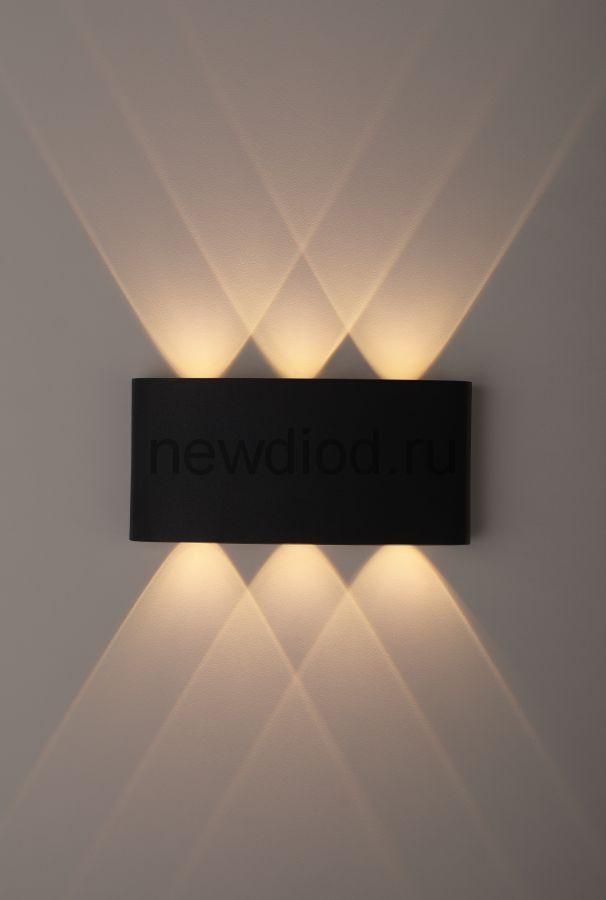 Светильник WL12 BK  ЭРА Декоративная подсветка светодиодная ЭРА 6*1Вт IP 54 черный