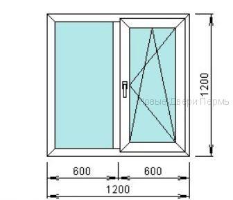 Окно ПВХ 1200*1200 мм одностворчатое готовые окна