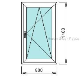Окно ПВХ 800*1400 мм одностворчатое готовые окна