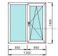 Окно ПВХ 1300*1400 мм одностворчатое готовые окна