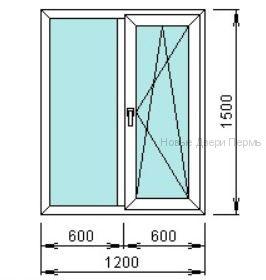 Окно ПВХ 1200*1500 мм одностворчатое готовые окна