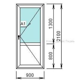 Дверь балконная 900*2100 мм правое открывание