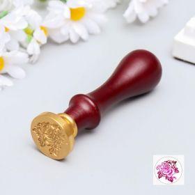 """Печать для сургуча с деревянной ручкой """"Королевская роза"""" 9х2,5х2,5 см"""