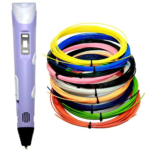 3D ручка с набором пластика 10 цветов по 10 метров