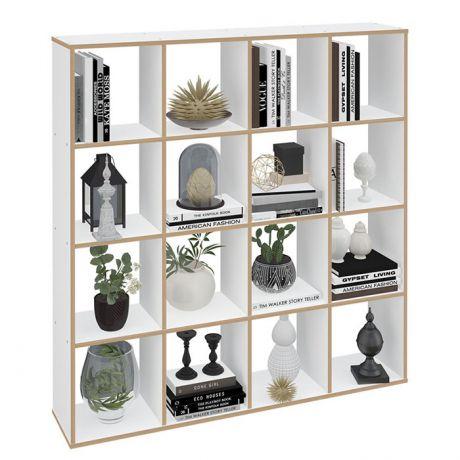 Стеллаж Polini Home Smart Кубический 16 секции, белый, эффект фанеры