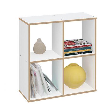 Стеллаж Polini Home Smart Кубический 4 секции, белый, эффект фанеры