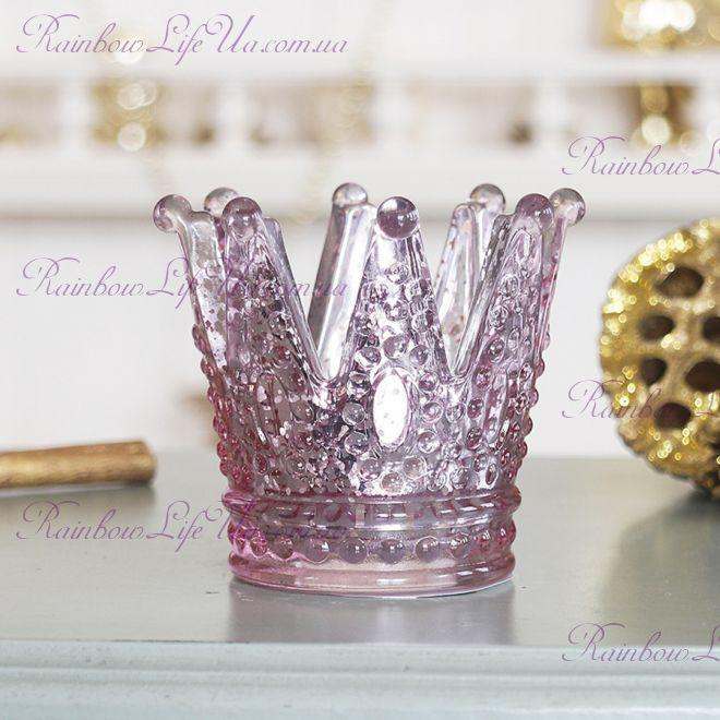 """Подсвечник стеклянный светло-розовый """"Корона"""""""