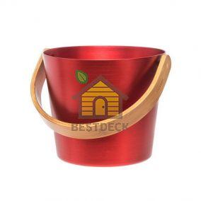 Ведро алюминиевое с бамбуковой ручкой RENTO, огненно-красный